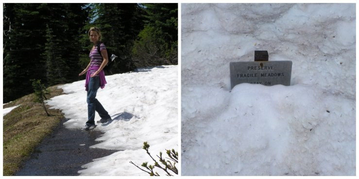 Left: first snow covered part of the trail we came across; Right: what was awaiting us