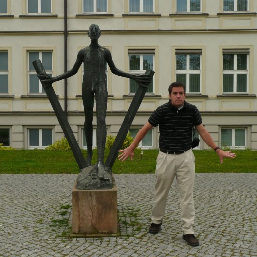My brother being a good sport in Germany