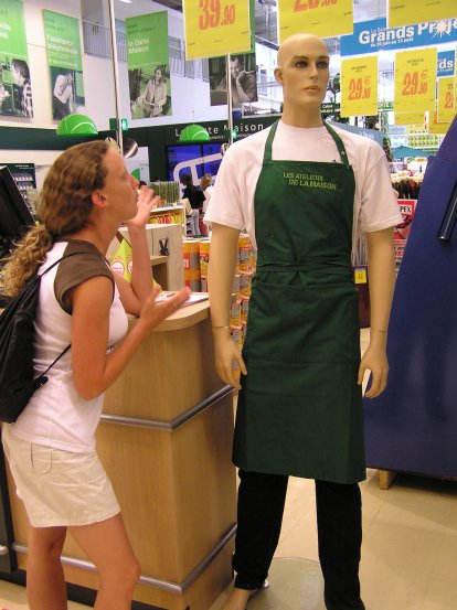 Teresa arguing with the man woman {strikethrough both} I-don't-know mannequin in a home improvement store