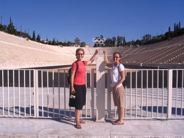 """""""Pretend you're each holding an Olympic torch!"""" said the Englishman we asked to take our picture in Athens. We, obviously, happily complied with his suggestion."""