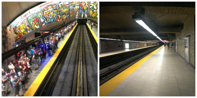 Left: metro platform after the fireworks - Right: metro platform the following morning :-)