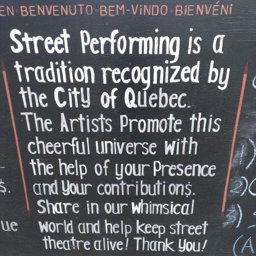 street performer sign