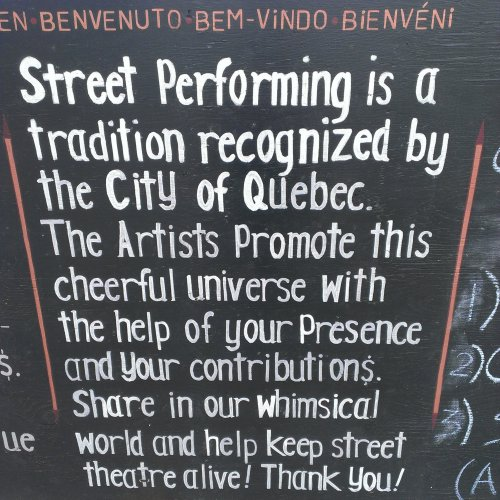 street performer sign