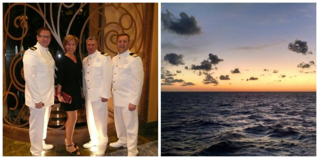 ship's officers and sunset